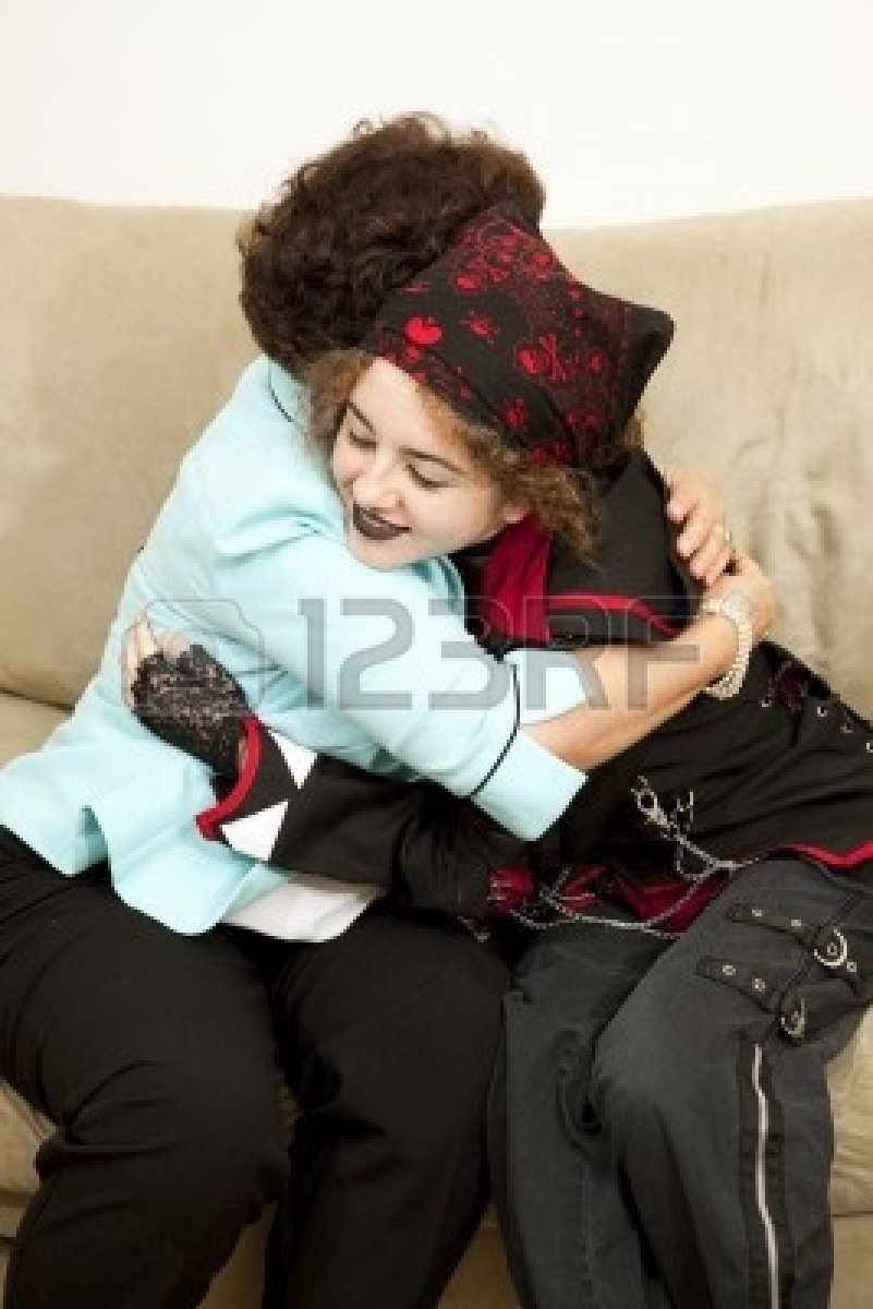 6713390-goth-teen-girl-gives-her-mother-a-hug--bandana-is-generic-not-brand-name-or-trademarked
